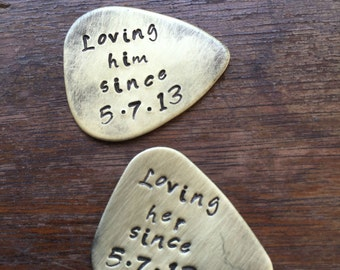 Loving Her Since Loving Him Since | Couples Stamped Guitar Picks Gift - Aluminum Copper Brass - Gift under 20 dollars