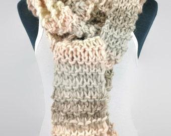 Handmade chunky long knit scarf,  Extra long chunky scarf, Hand knit scarf, wool knit scarf,Long knit scarf,Winter wool scarf,Chunky scarf