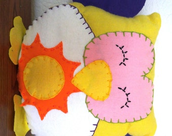 Sun Owl Plushie: Yellow, Pink & Purple