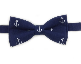 Navy Blue Anchor Bow Tie, Self-Tie Bow Tie, Pre-Tied Bow Tie, Navy Blue Anchor Pocket Square Available