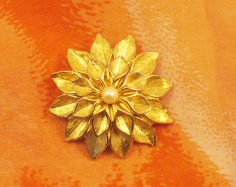 Pearl and Gold Tone Broach.