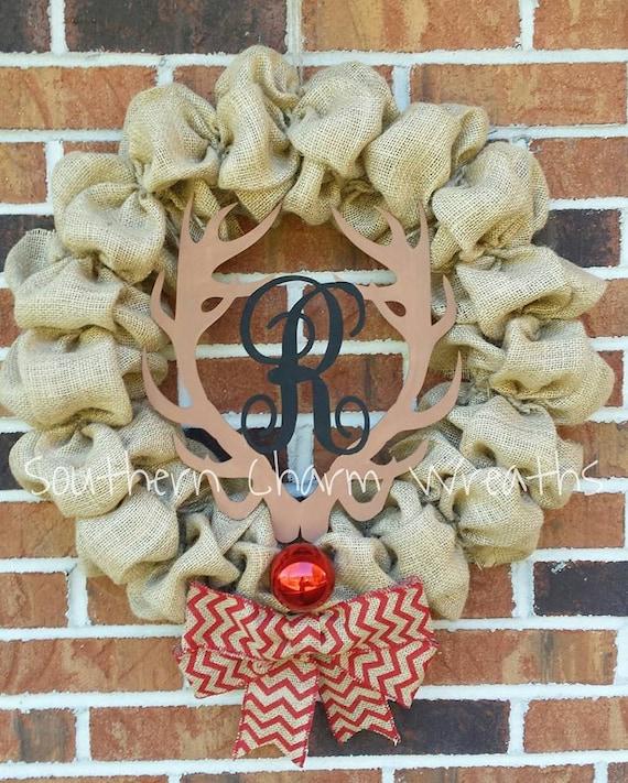 Monogrammed Burlap Rudolph Wreath