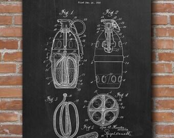 Hand Grenade Patent, Hand Grenade Print, Army Equipment, Military Decor, Man Cave, Patent Print - DA0668