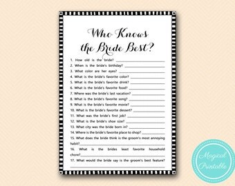 How Well Do You Know The Bride Black White Bridal Shower Games Unique