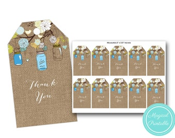 Mason Jars and Burlap Thank you tags, bridal shower tags, thank you labels, baby shower thank you tags, labels, instant download PNN12