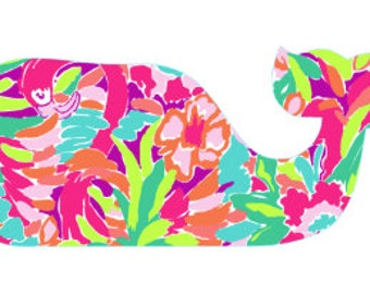 Lilly inspired whale vinyl decal/ whale decal/ whale/ lilly inspired/ lulu/ car decal/ vinyl decal/ decal/ whale car decal