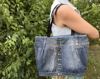 Blue Denim bag / Denim Bag / Denim Handbag / Shoulder Bag / Denim tote bag / Denim Purse / Rustic Boho Bag