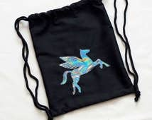Holographic Pegasus Gym Bag Drawstring Bag
