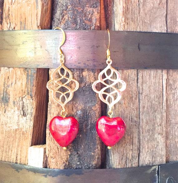 Red Heart Earrings, gold & Czech glass