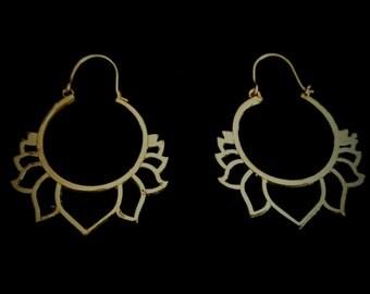 NEW! brass LOTUS earrings