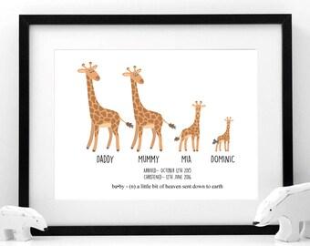 Family of Giraffes Print