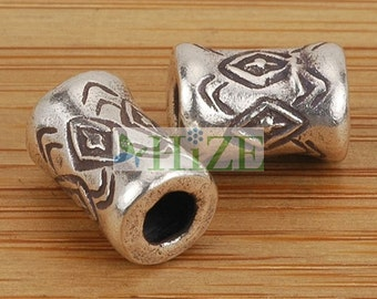 HIZE SB038 Thai Karen Hill Tribe Silver Drum Cylinder Tube Beads 8mm (6)