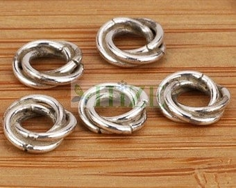 HIZE BB150 925 Sterling Silver Twisted Ring Spacer Beads 6mm (32)