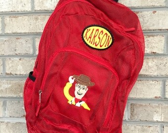 Monogrammed Backpack | Mesh Backpack | Back to School | Toy Story  Backpack | Boys Backpack | Mesh Backpack | Embroidered Mesh Backpack