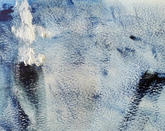 Bluer by Yu Polch - blue abstract acrylic oil on paper