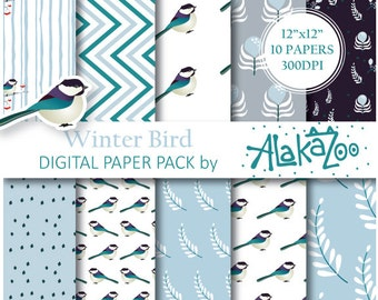Printable Christmas Patterns, Birds Digital Paper, Blue background, Scrapbooking Papers, Paper with Birds, Birds Pattern Paper