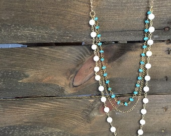 Gold white and turquoise layering necklace