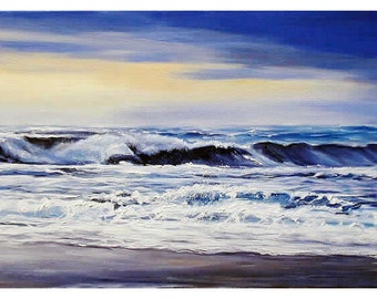 Oilpainting on canvas , On the beach after the storm   Marine  unframed