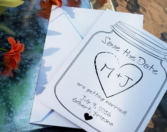 Rustic Save the Dates - Simple Save the Date - Mason Jar Save the Date [Download or Printed]