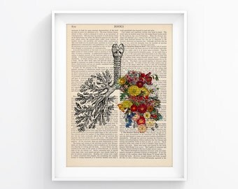 Vintage Book Print Art Wall decor Art Page Decorative Art Book Page Retro Poster Vintage Illustration Gift Poster Flower Lungs 011