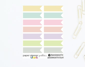 Pastel Large Long Flags Planner Stickers - Banners Inkwell Press Livewell Erin Condren Plum Paper Planner Kiss Cut Pretty ECLP May Designs