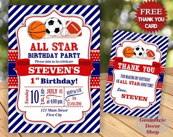 All Star Birthday Party Invitation Invite Soccer Baseball Basketball Football 1st 2nd Boy Blue Red Photo Photograph Printable First BDSP1