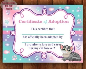 Cat Adoption Certificates - Certificate of adoption - Instant Download - Adopt A Kitty - Kitty Birthday - Cat Party