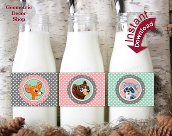 Girl Woodland Bottle Wrappers INSTANT DOWNLOAD Labels Mint Pink Fox Birthday Party Baby Shower Deer Bear Fox Raccoon WLWDL1 // BP001