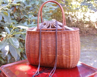 Large Vintage Japanese Traditional Woven Basket Purse From Kyoto