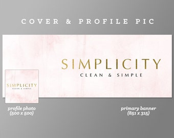 Simplicity Timeline Cover + Profile Picture Cover, Profile Picture, Branding, Web Banner, Blog Header | Gold, luxury banner set