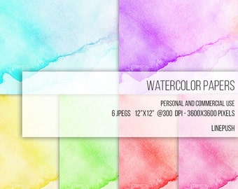 SALE! Watercolor Papers Clip Art Stained Background Invitation Card Wallpaper Scrapbooking Scrapbook Neon Blue Green Yellow Purple Red Pink