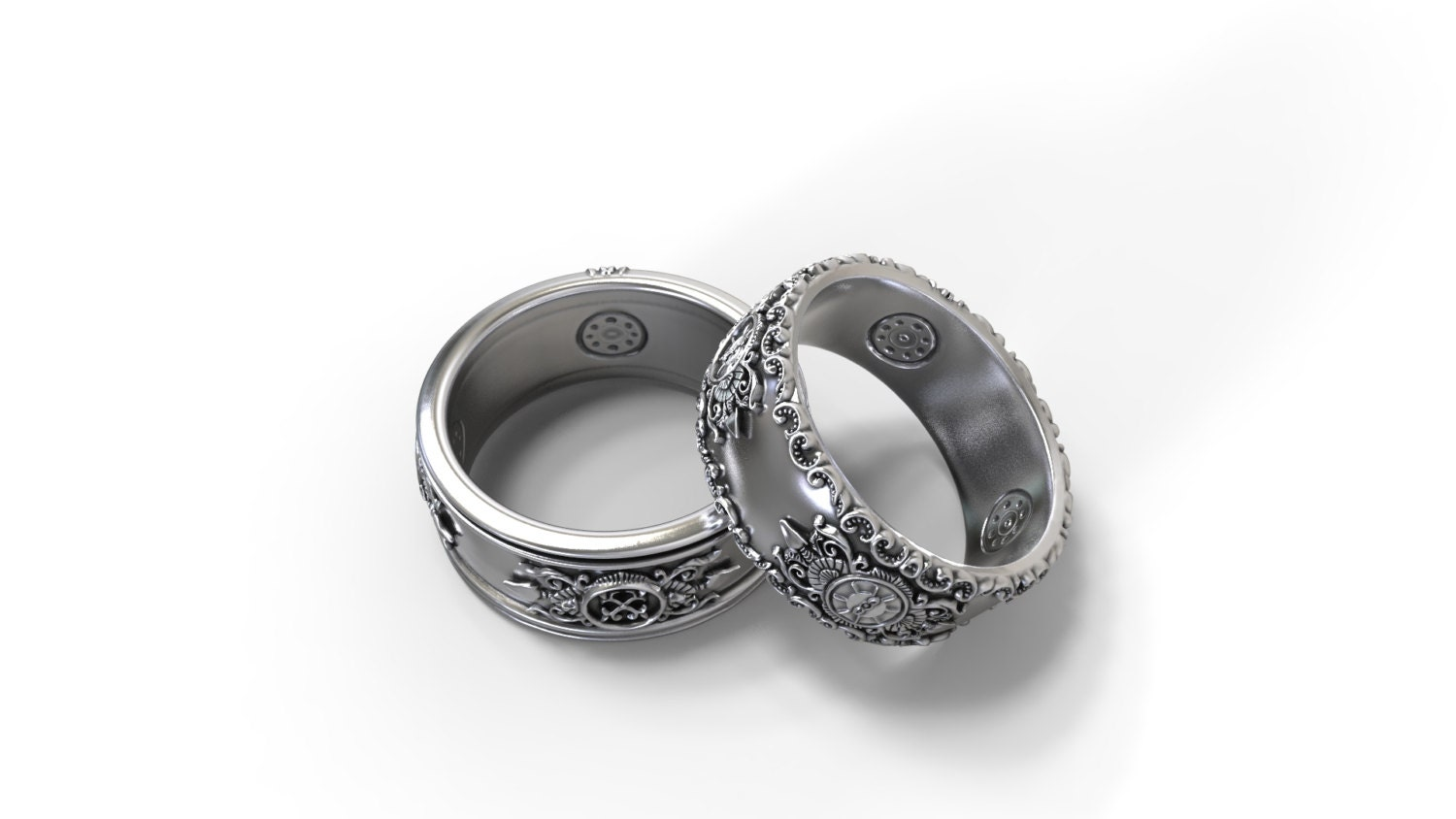 gothic wedding bands his and hers set by greywolfjewellery