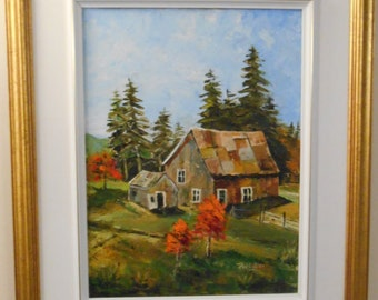 Oil made with a spatula (knife) - old barn painting