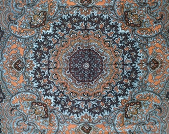Vintage Square Polyester Scarf - Geometric Paisley Design - Brown, Orange and White - Unused and Perfect From 1970s Stock