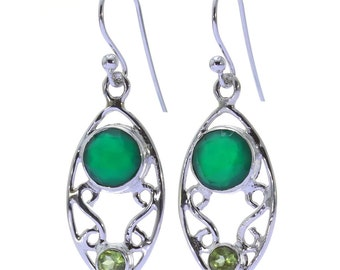 Green Onyx, Peridot Earrings, 925 Sterling Silver, Unique only 1 piece available! color green, weight 4.5g, #34731