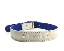 Dog Collar, Leather dog collar, Soft  Cream Leather and Wool Felt  Dog Collar, UK, personalised leather dog collar