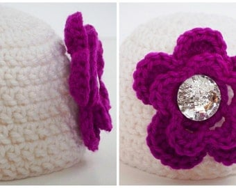 Newborn Crochet Hat with Interchangeable Flowers - Crochet Baby Hat - Baby Girl Flower Hat - Crochet Baby Shower Gift - Ready to Ship