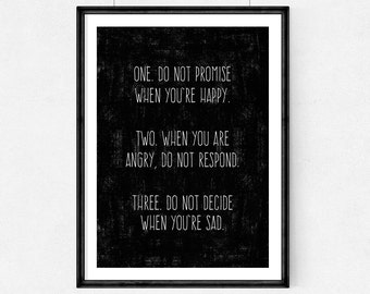 Poster-One. Do not promise when you're happy.Two. When you are  angry, do not respond,Quote,Inspirational,Gift Idea,Typography Poster,quote,