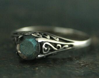 The Cinderella Ring--Labradorite Ring--Antique Style Ring--Silver Vintage Style Filigree Engagement Ring--Full Cut Labradorite Ring