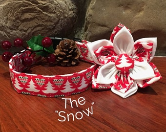 Dog Collar, Christmas Dog Collar, winter Dog Collar, Tree Dog Collar, christmas tree dog collar, red and green collar , dog collar flower