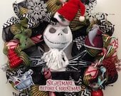 Nightmare before Christmas Wreath, Jack Skellington Wreath, Oogie Boogie Wreath, Christmas Wreath, Green and black Wreath, Sally and Jack