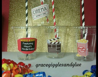 12 Movie Themed Party Cups with Striped Straws and Lids!, Showtime Plastic Party Cups