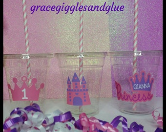 12 Princess themed party Cups, Tiara and Castle Party Cups