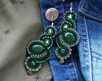 soutache doublesided emerald black