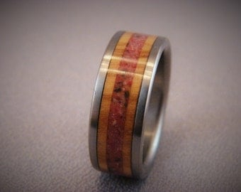 Olive Wood and crushed Coral Inlay Ring, crushed coral stone, stone inlay,wood and stone inlay ring,titanium and stone inlay
