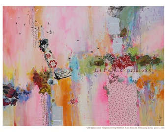 Art print,limited edition prints,pink tone, Giclee print, life is precious, Xiaoyang Galas,personally signed by the artist