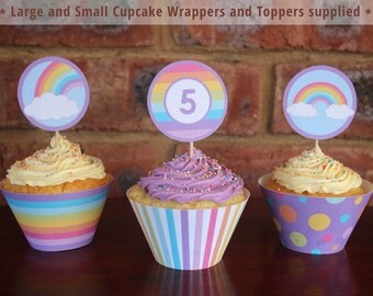 Rainbow Cupcake Wrappers and Toppers - Rainbow Party - Rainbow Birthday Party - Print and Assemble yourself at home!