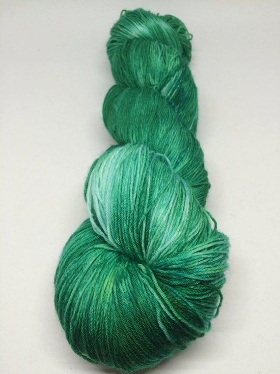 Hand Dyed Shawl Skein, 100% Superwash Merino Lace_Emerald City