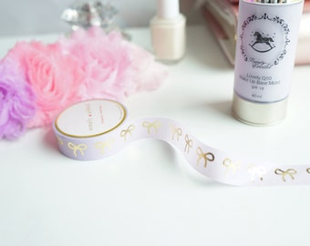 Lavender and champagne gold foil bow washi tape