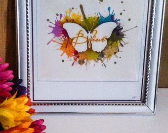 Believe Colorful Butterfly Framable Abstract Print